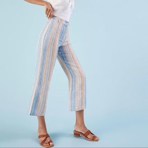 REFORMATION Striped Linen Tahiti Cropped Pants
